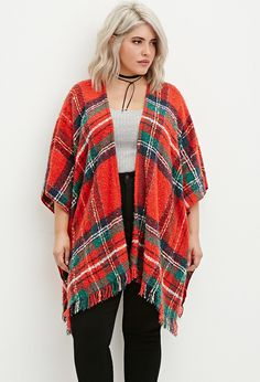 Plus Size Buttoned-Side Plaid Shawl | Forever 21 PLUS - 2000158297