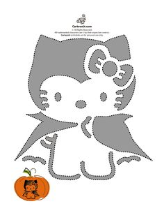 vampire hello kitty pumpkin template