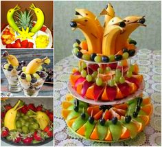 Banana Dolphin Fruit Platter. I don't know if I'd have the patience to do this but it sure is cute!