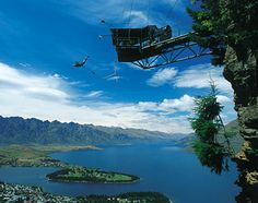 """Bungee Jumping! """"The Ledge Bungy is like no other, in that it comes equipped with a 'runway' to launch you out 400 meters(1,312ft) over Queenstown"""" -South Island New Zealand   http://www.bungy.co.nz/the-ledge/the-ledge-bungy"""