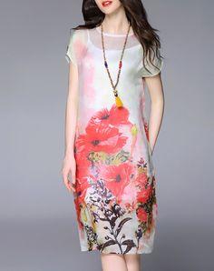 Graceful Elegant Short Sleeve Silk Floral-print Floral Midi Dress