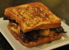 Viva La Sammie - French Toast with Candied Whisky Bacon, Peanut Butter, and Caramelized Cinnamon Bananas