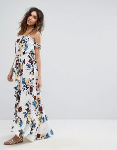 Buy Boohoo Floral Print Ruffle Bardot Maxi Dress at ASOS. With free delivery and return options (Ts&Cs apply), online shopping has never been so easy. Get the latest trends with ASOS now. Asos Online Shopping, Online Shopping Clothes, Latest Fashion Clothes, Fashion Online, Maternity Shoot Dresses, White Maxi Dresses, Latest Dress, Designing Women, What To Wear