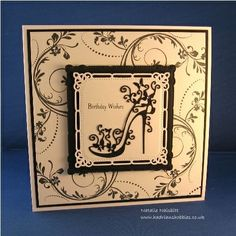 Tattered lace shoe die, Spellbinders die, Phill Martin Sentimentally Yours Flourish stamp Hand Made Greeting Cards, Making Greeting Cards, Greeting Cards Handmade, 50th Birthday Cards, Birthday Cards For Women, Cute Cards, Diy Cards, Pop Up Flower Cards, Art Deco Cards