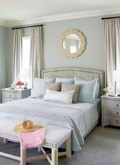 Wall color is Benjamin Moore Gray Wisp. Andrew Howard Design and bedding