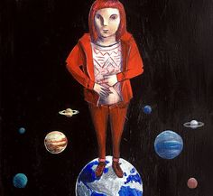 Acrylic painting. Illustration. Solar system.