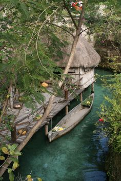 Xcaret mayan village in Yucatan Peninsula, Mexico - Personal wading canoe mmmm!