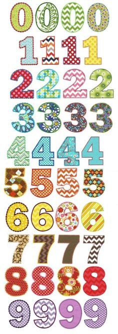 We've been asked over and over for some simple, chunky applique numbers and we are happy to oblige. This value packed set includes numbers Each number comes in 4 different applique style finishes: satin, zigzag, vintage, and a fancy blanket stitch an Applique Templates, Applique Patterns, Applique Designs, Machine Embroidery Designs, Embroidery Store, Embroidery Applique, Design Set, Blanket Stitch, Alphabet And Numbers