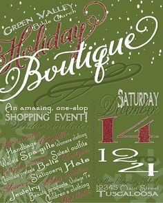 Holiday Craft Boutique Fair Show Flyer Poster Advertisement Invitation by Jalipeno on Etsy, $15.00 Digital CUSTOM PRINTABLE DOWNLOAD - perfect for your Church, School, Neighborhood or Organization's Activity, Party, Concert, Fundraiser or Event this Christmas / winter / Hanukkah season! Check my shop for more event flyers & invitations! I LOVE to create custom orders, please message me!