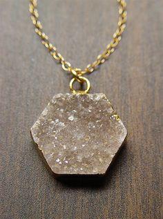 Geometric Druzy Necklace 14k Gold by friedasophie