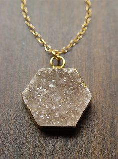 Geometric Druzy Necklace 14k Gold by friedasophie