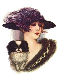JAPANESE CHIN DOG PRINT GREETINGS NOTE CARD PRETTY LADY IN FEATHERED HAT