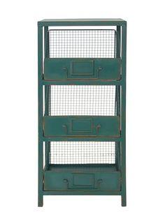 Estante de Ferro Drawers Verde - Collector55