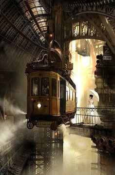 Retro futurism back to the future tomorrow tomorrowland space planet age sci-fi pulp flying train airship steampunk dieselpunk