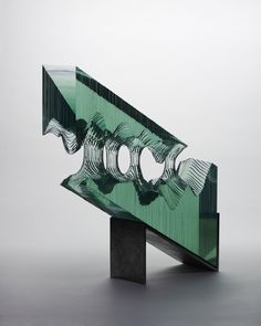 Sheets of Glass Cut into Layered Ocean Waves by Ben Young waves water sculpture glass