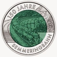 "coins and more: 159) The ""25 Euro Silver-Niobium Coin Series: (ii): 2003-2015 minted by the Austrian Mint: The Second coin in the Series: ""150 years of Semmering Alpine Railway"" issued in 2004:"
