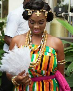 I Do Ghana   Bride Mikafui looks beautiful on her day   @ashikimomo   Kente wedding   African fashion   Kente   Ghanaian Fashion   Ghanaian Fabric   West Africa   African Prints