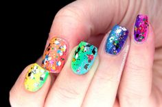 Polish All the Nails: Review: Femme Fatale Cosmetics Party Grenade with Rainbow Neon Gradient!