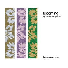 Blooming Peyote Bracelet Pattern INSTANT DOWNLOAD por lariata