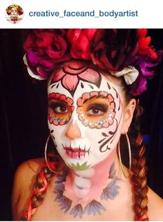 Dead Makeup, Day Of The Dead, Halloween Costumes, Halloween Ideas, Halloween Face Makeup, Creative, Artist, Sugar Skulls, Painting