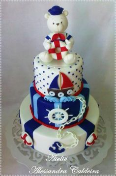 Cute Nautical Cake; like adding Teddy Bears to nautical theme