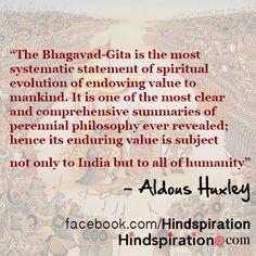 Fantastic quote from Aldous Huxley on the Bhagavad Gita and Hindu philosophy. Ayurveda, Aldous Huxley Quotes, Gita Quotes, Fantastic Quotes, Divine Light, Bhagavad Gita, Religious Quotes, Spiritual Inspiration, Book Quotes