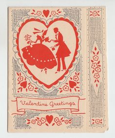 Vintage Art Deco Heart With Old Fashioned Couple Valentine Greeting Card | eBay