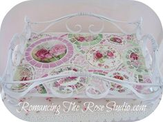 mosaic, mosaics, mosaic tray, vintage china pink, rose china, vintage tray,      www.RomancingTheRoseStudio.com ©Website Design by: OneSpringStreet.NET 2011