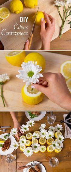 zitronen als vasen verwenden, weiße blumen, tischdeko