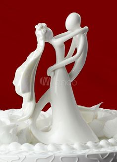 Bride & Groom Ceramic Figurine Wedding Cake Topper