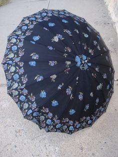 1960s Black Umbrella Parasol with Blue Plum Metallic Flowers