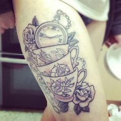 Tea cups tattoo - I think it would look even better with some bright colors!