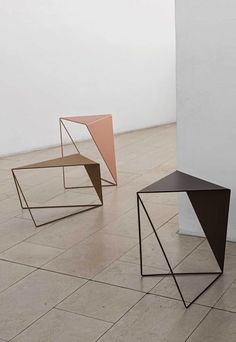 architektur Side tables and lighting from MUNK Collective Plywood Furniture, Steel Furniture, Modern Furniture, Furniture Design, Futuristic Furniture, Metal Side Table, Side Tables, Geometric Side Table, Modern Side Table