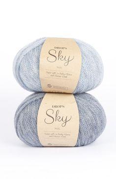 DROPS Sky - Molto morbida e leggera in baby alpaca e lana merino Laine Drops, Yarns, Charlotte, Wool, Knitting, Image, Merino Wool, Simple Knitting Projects, Hand Crafts