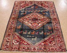 4 x 6 PERSIAN HAMEDAN Tribal Hand Knotted Wool SOFT NAVY ANIMALS Oriental Rug #PersianHamedanTribalGeometric