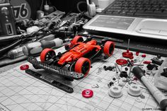 MA Chassis in progress. Souped it up with HG parts.  #Tamiya #Mini4WD