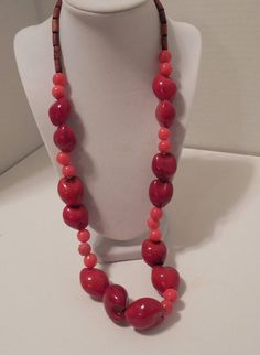 Boho Coral Necklace Chunky Red coral Salmon by GingersLittleGems