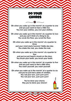 Do Your Chores. Download FREE fun curriculum learning activities and FREE song lyrics from our website. Watch FREE videos! http://www.childrenlovetosing.com/kids-song/do-your-chores/