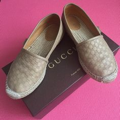 Authentic Microguccissima Leather Espadrille Gorgeous 100% authentic Gucci beige leather espadrilles with leather trim. Cord platform, rubber bottom. Materials made in Italy, shoe constructed in Spain. Used, very good condition, common signs of wear on the bottom, other than that they look great. Bought them on Gucci.com (receipt pictured). Box included. Will provide more pics if needed. Gucci Shoes Espadrilles