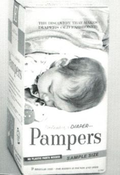 Pampers introduces disposable diapers in 1961. I came along after pampers. Not sure if my mother used them. It would have been an unneeded expense at that time.
