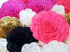 12 Giant large Paper Flowers spade bridal baby shower wedding backdrop wall Gatsby pink gold White b