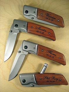 4 Engraved Knives Pocket Knife LED Flashlight by engravingwiz, $108.00