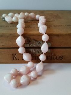 "Sweet + Feminine Light Pink Necklace | Vintage 18.5"" Single Strand Beaded Necklace | Short Length + Lightweight | 1940's / 1950's"