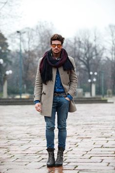 I like the beige coat...oversized scarf adds a cool touch.