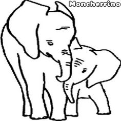 Desenho Para Colorir: Eelefante -Mãe Elefanta e seu Filhote Elefantinho http://moncherrino.blogspot.com.br/2015/02/desenhos-para-colorir-elefante.html Venha imprimir e colorir os desenhos do maior mamífero terrestre vegetariano, que vive aproximadamente 70 anos: o Elefante!
