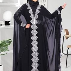 Faimatou Abaya - Black Butterfly Abaya Gold or Silver Embroidery Muslim Dress Code, Butterfly Abaya, Black Abaya, Chiffon Material, Islamic Clothing, Caftans, Muslim Women, Elsa, Cold Shoulder Dress
