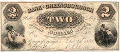 Obsolete Bank Note - $2 Bank of Greensborough, Georgia