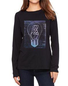 284590bba Details about Velocitee Ladies Long Sleeve T-Shirt Eureka Light Bulb  Physics Chemisty V182