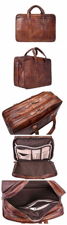Handmade Vintage Full Grain Leather Mens Briefcase/ Laptop Bag/ Business Handbag from Unihandmade Leather Studio Leather Gifts, Leather Bags Handmade, Leather Men, Leather Duffle Bag, Leather Briefcase, Latest Bags, Briefcase For Men, Fashion Bags, Leather Purses