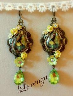 Boucles fées victoriennes  jaune et vert peridot par lorenza33, $53.00